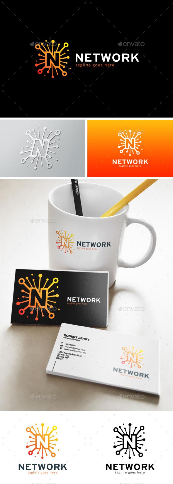 Network Letter N Logo - Letters Logo Templates
