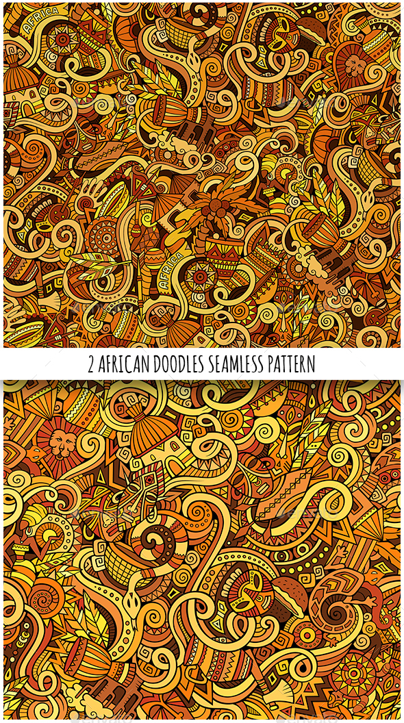 2 African Doodles Seamless Patterns - Travel Conceptual