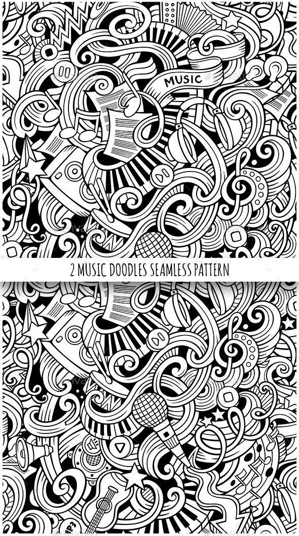 2 Doodles Music Seamless Pattern - Media Technology