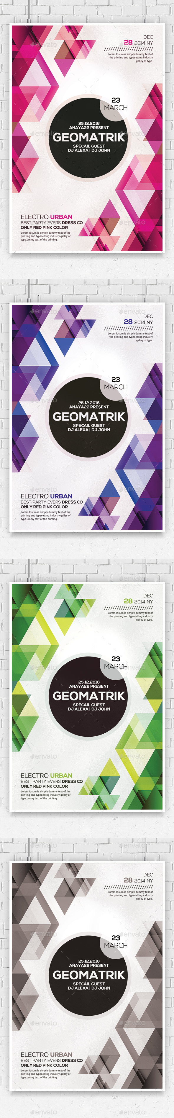 Minimal Geometric Flyer Psd Template - Clubs & Parties Events