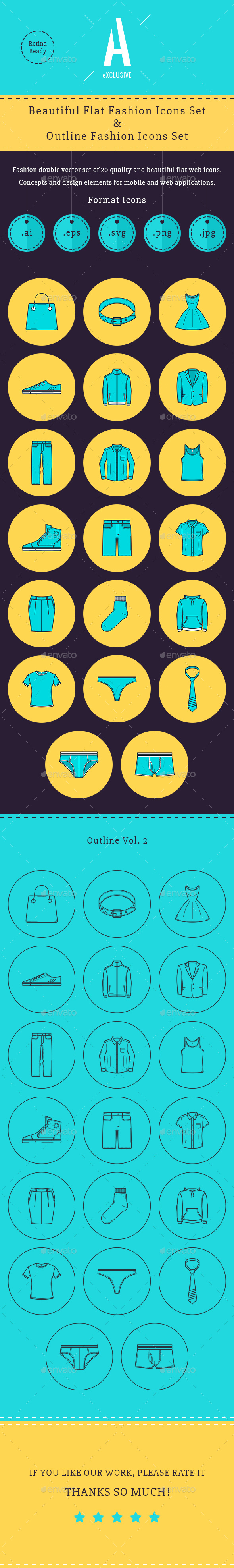 Fashion Flat & Outline Icons - Icons