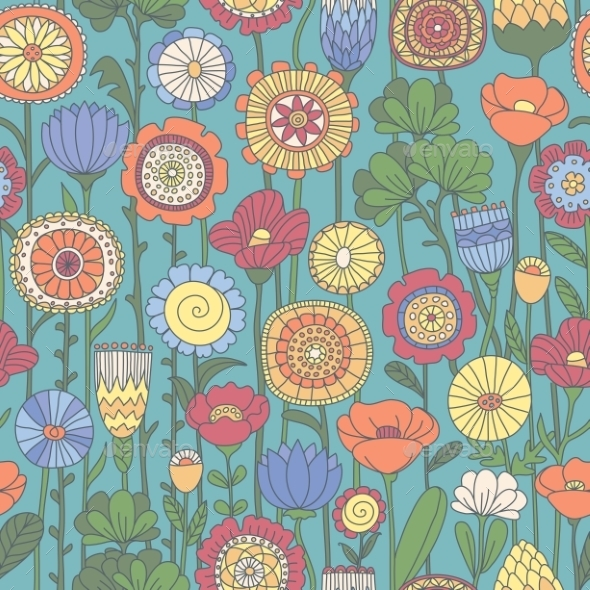 Seamless Color Floral Pattern - Backgrounds Decorative