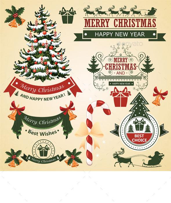 Christmas Set of Elements for Design  - Christmas Seasons/Holidays