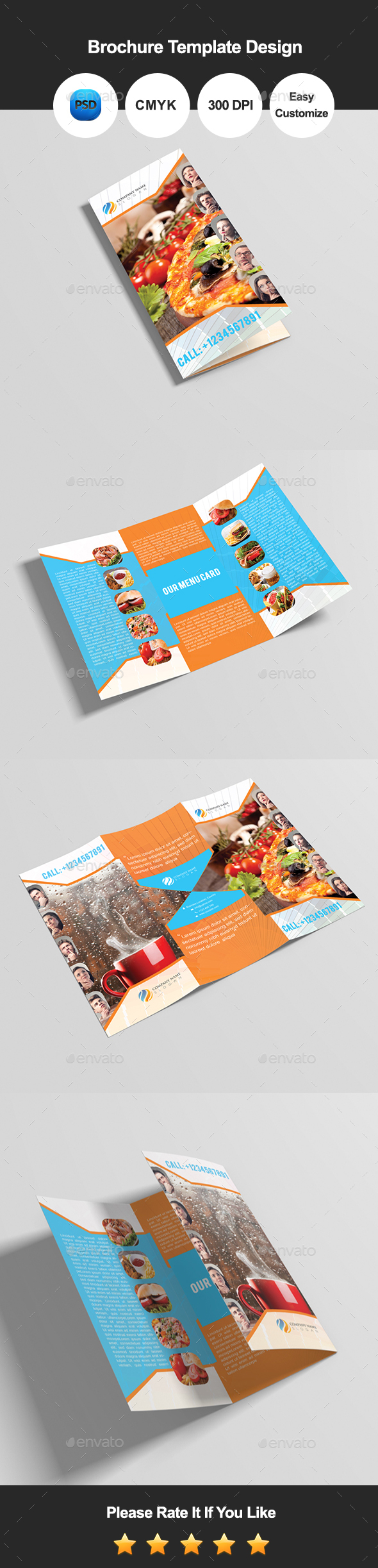 Foodina Tri Fold Food & Restaurant Brochure - Corporate Brochures