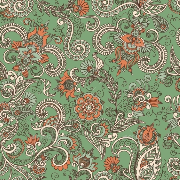 Seamless Green and Orange Floral Pattern - Backgrounds Decorative