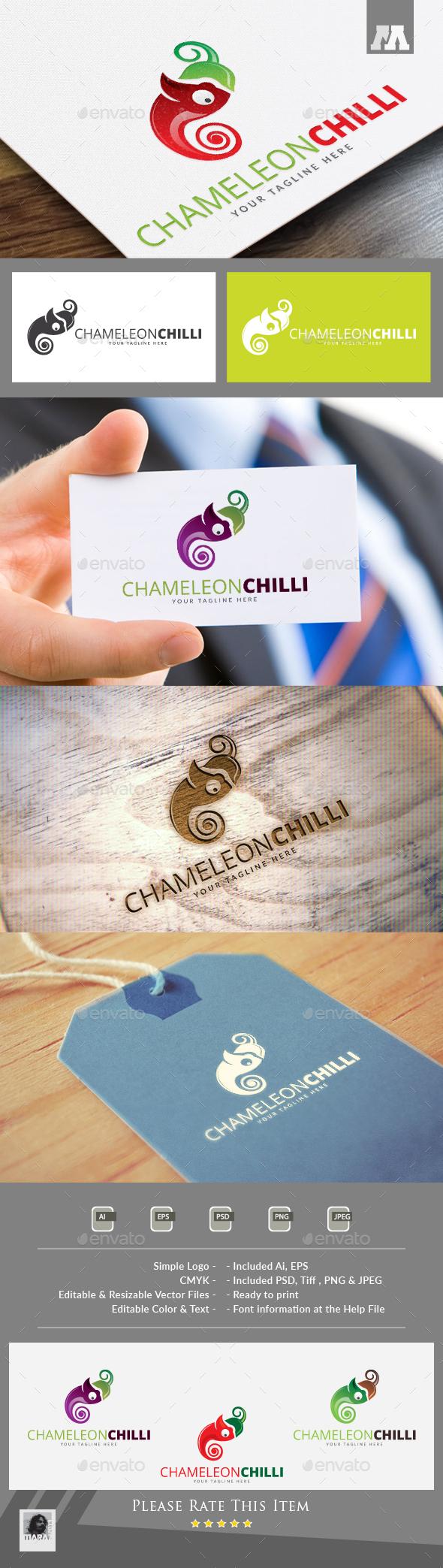Chameleon Chili Logo - Food Logo Templates