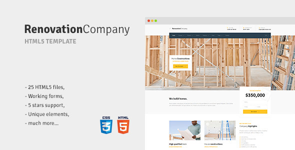Renovation Company – Construction and Building HTML5 Template