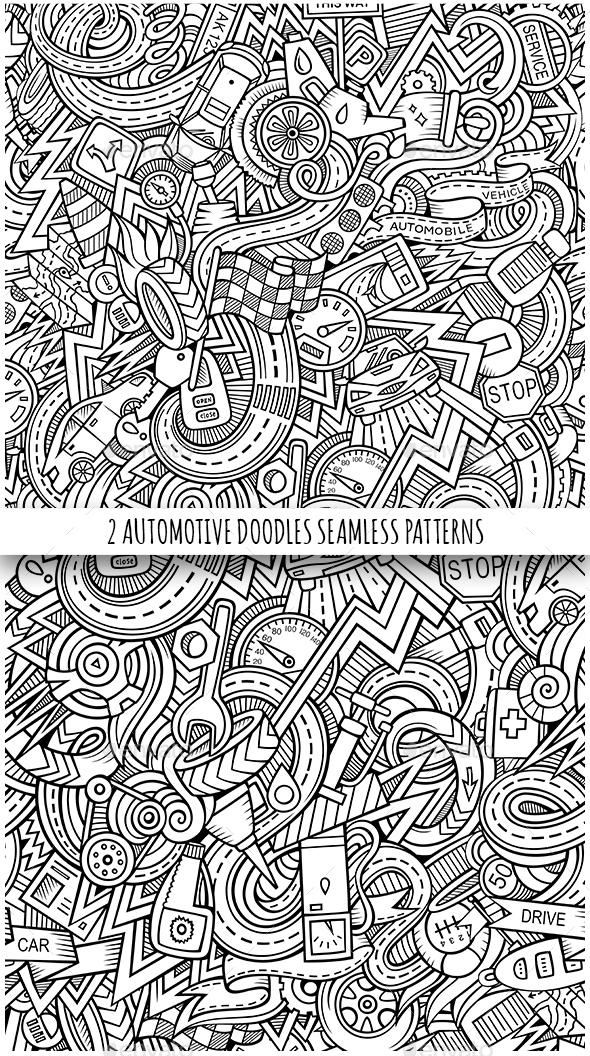 2 Automotive Doodles Seamless Patterns - Backgrounds Decorative