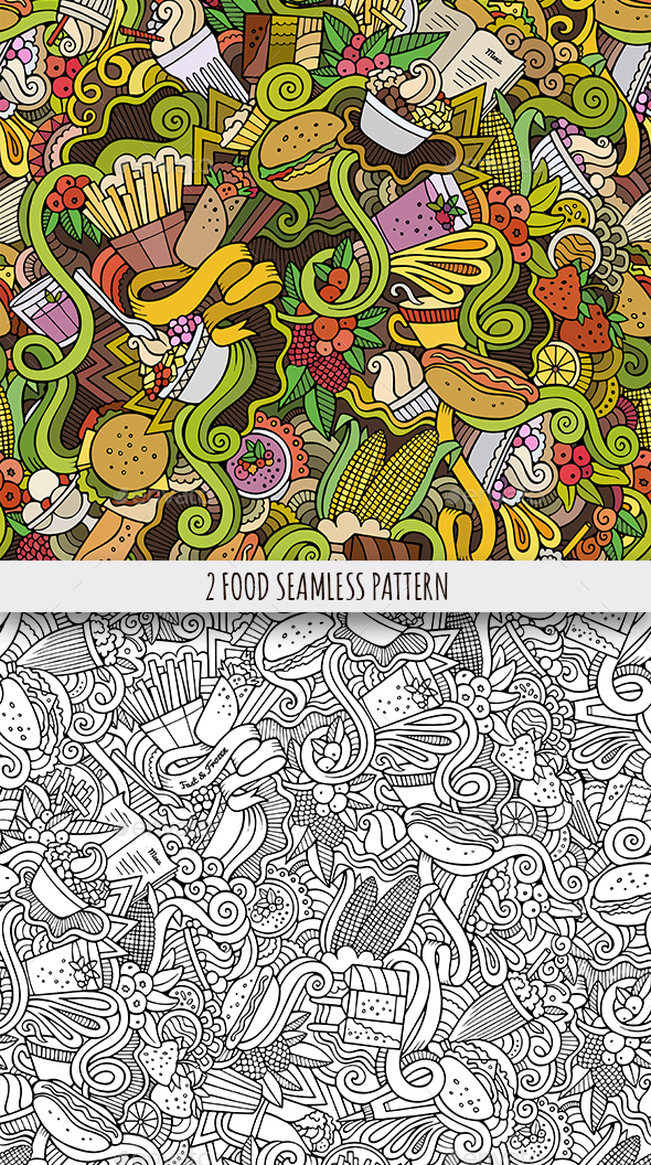 2 Food Doodles Seamless Patterns - Food Objects