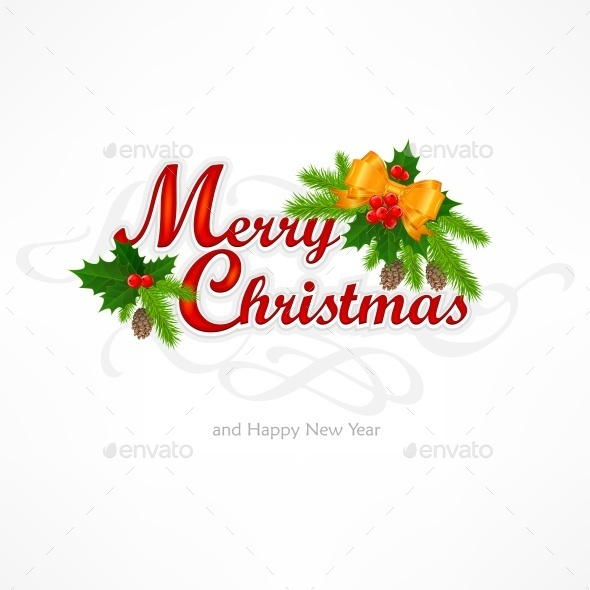 Merry Christmas Inscription with Branch  - Halloween Seasons/Holidays