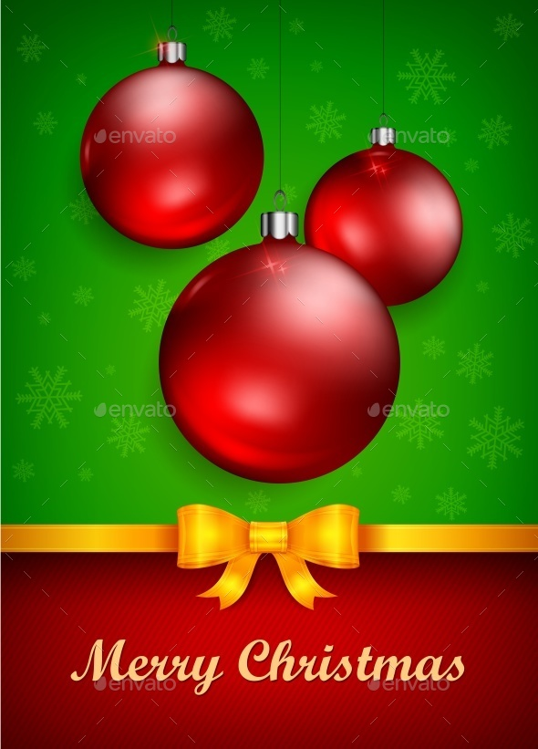 Christmas Baubles and Bow - Halloween Seasons/Holidays