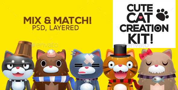 Cat Creation Kit - Characters Illustrations