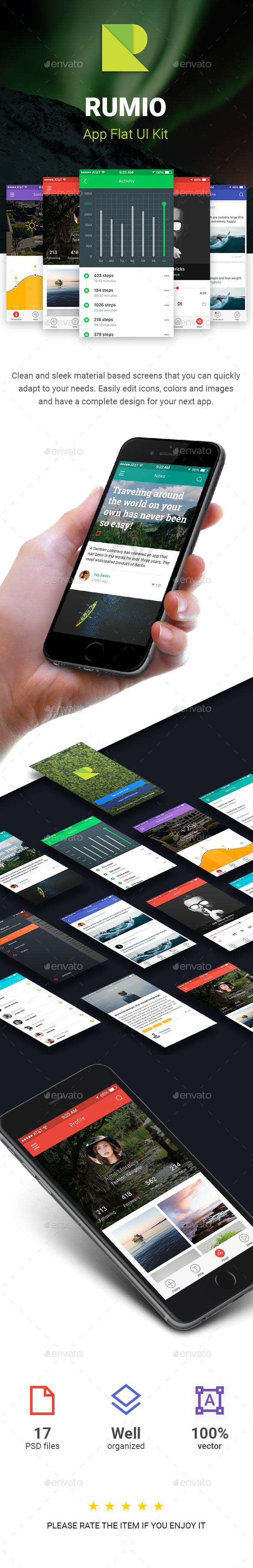 Rumio Flat iOS UI Kit - User Interfaces Web Elements