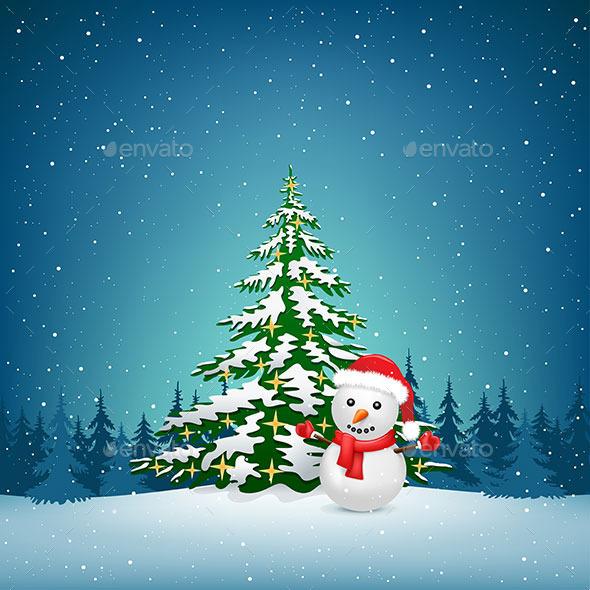 Christmas Snowman and Spruce - Christmas Seasons/Holidays