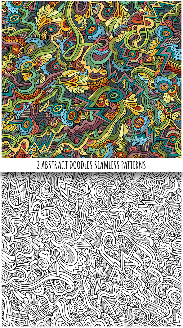 2 Fantasy Doodles Seamless Patterns - Patterns Decorative