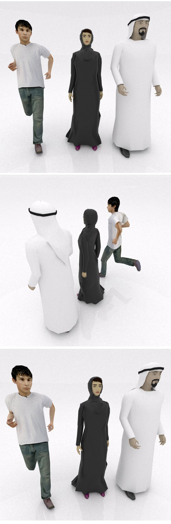 Emirate's couple with kid - 3DOcean Item for Sale