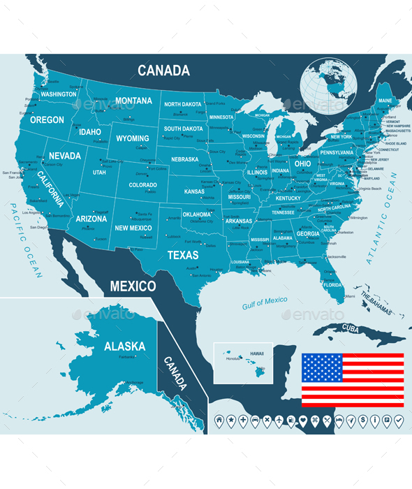 United States Map, Flag and Navigation Labels - Travel Conceptual