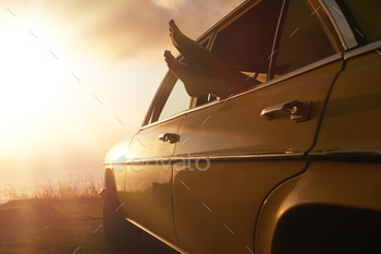 Relaxing in a car on road trip
