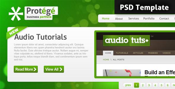 Protégé PSD Template - Personal PSD Templates