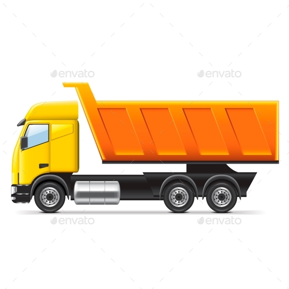 Dump Truck Isolated on White - Services Commercial / Shopping