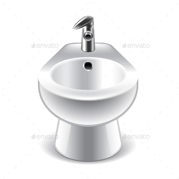 Bidet Isolated on White - Man-made Objects Objects