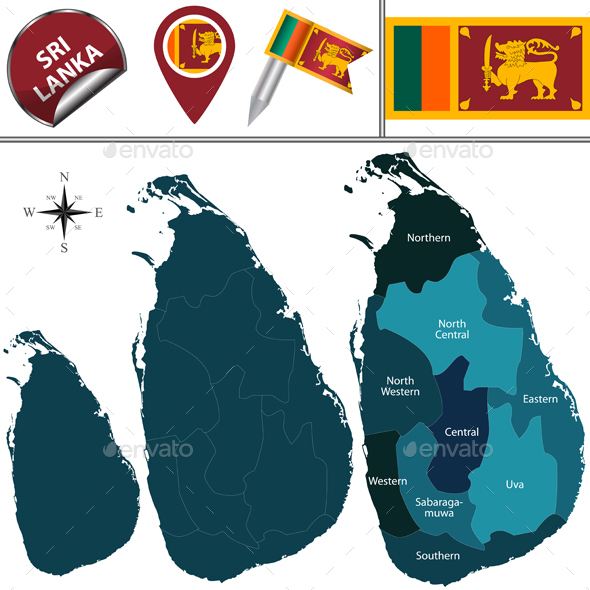 Map of Sri Lanka - Travel Conceptual