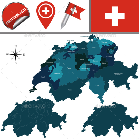 Map of Switzerland - Travel Conceptual