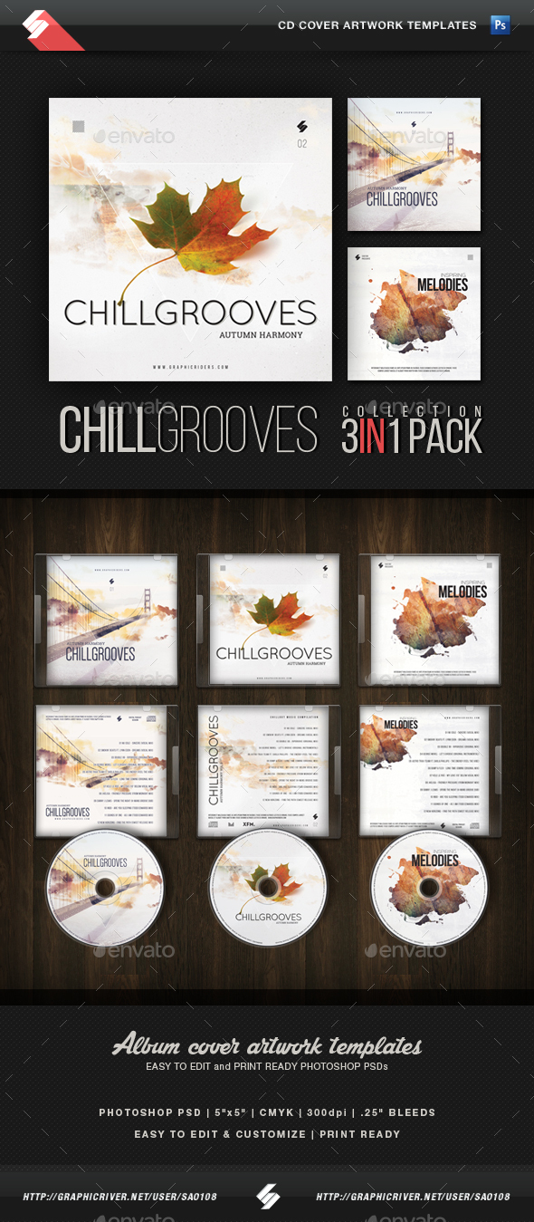 Chill Grooves - CD Cover Templates Bundle - CD & DVD Artwork Print Templates