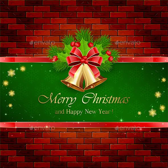 Christmas Decorations with Red Bow on Brick Wall - Christmas Seasons/Holidays