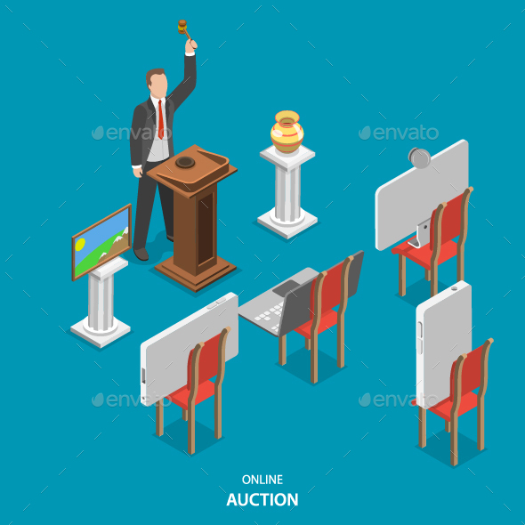 Online Auction Isometric Flat Vector Concept.  - Retail Commercial / Shopping