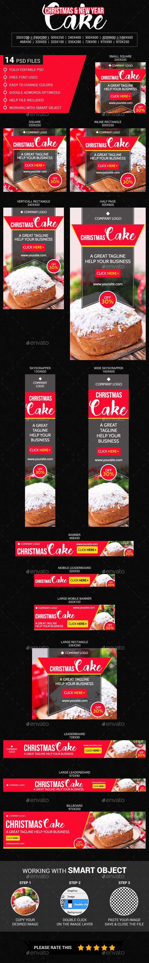 Christmas & New Year Cake - Banners & Ads Web Elements