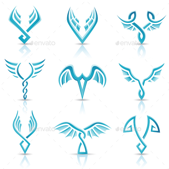 Glossy Blue Wings Icons - Animals Characters