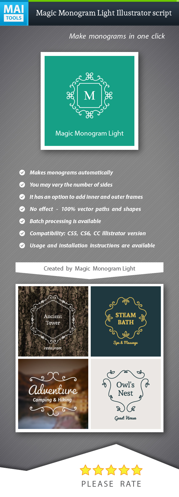 Magic Monogram Light Illustrator Script - Illustrator Add-ons