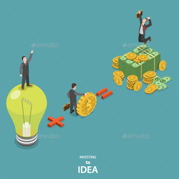 Investing Into Idea Isometric Flat Concept - Concepts Business