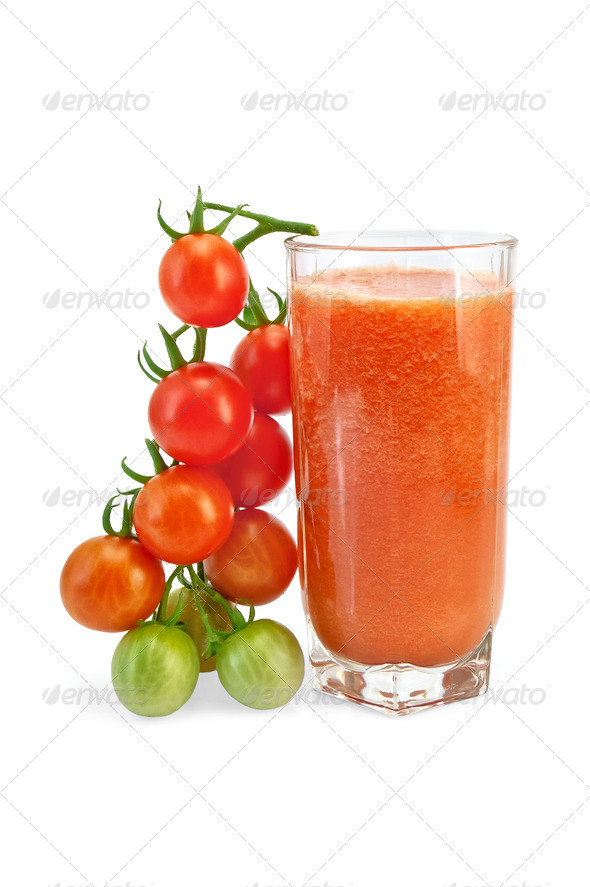 Juice tomato in glass with a cherry - Stock Photo - Images