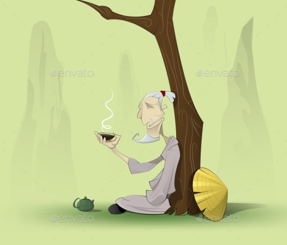Chinese Old Man Sitting Under the Tree - People Characters
