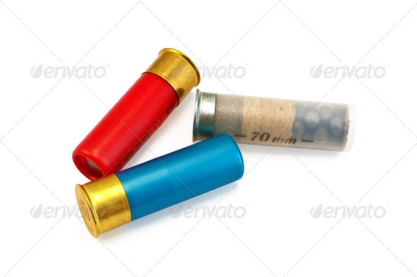 Three colored cartridges for shotguns - Stock Photo - Images