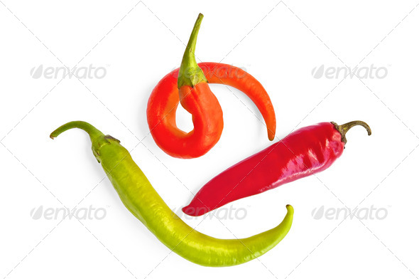 Three colorful hot peppers - Stock Photo - Images