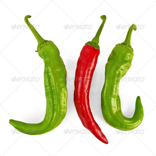 Three hot peppers - Stock Photo - Images