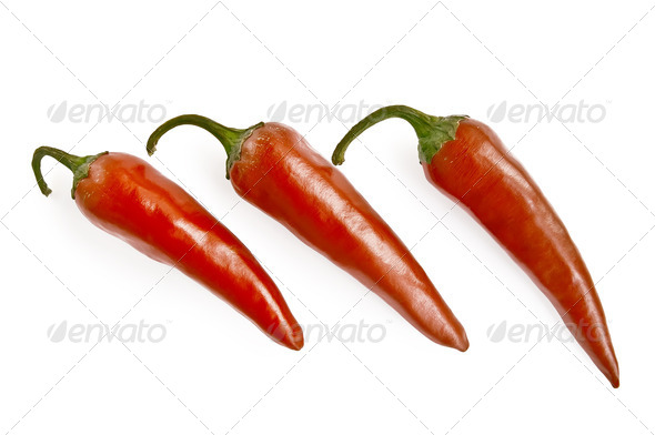 Three red hot pepper - Stock Photo - Images