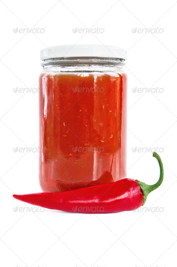 Tomato ketchup with hot pepper - Stock Photo - Images