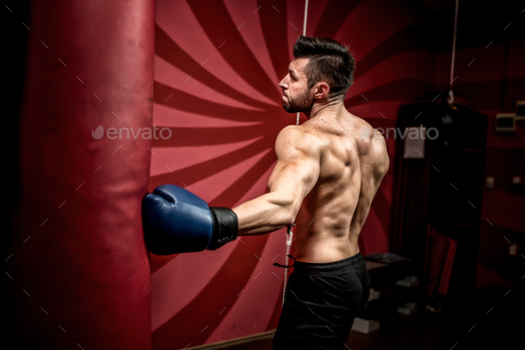 professional boxer fighting and training in gym. Strong, muscular man training and boxing - Stock Photo - Images