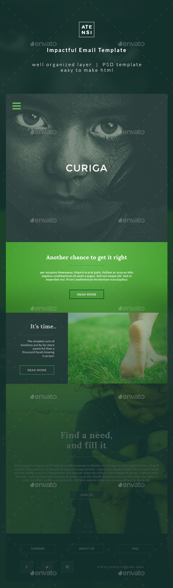 Curiga Charity Email Template - E-newsletters Web Elements