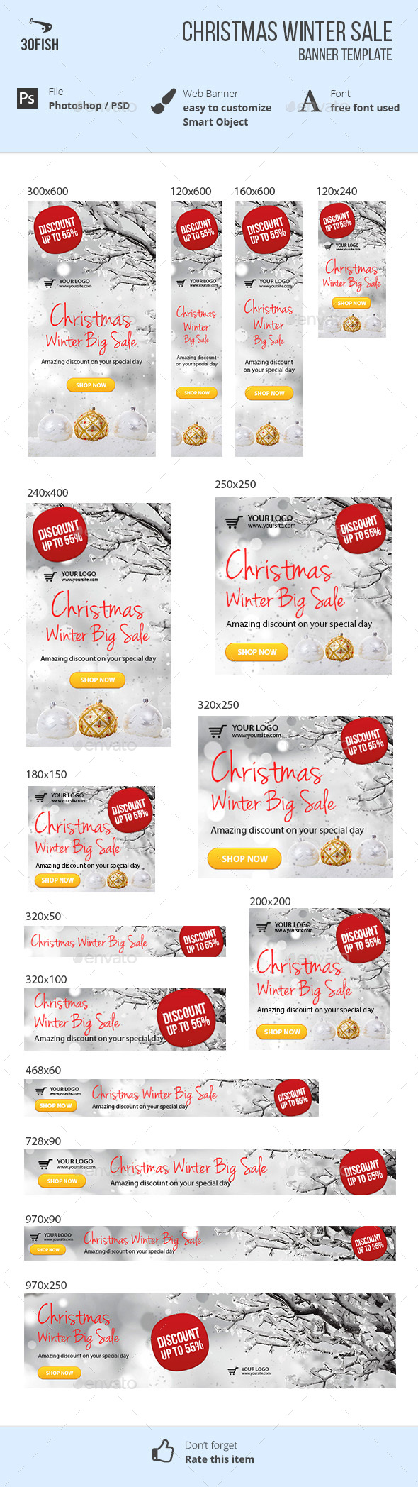 Christmas Winter Sale Ads - Banners & Ads Web Elements