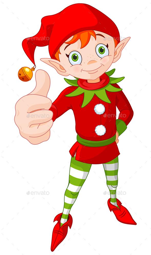 Thumb Up Christmas Elf  - People Characters