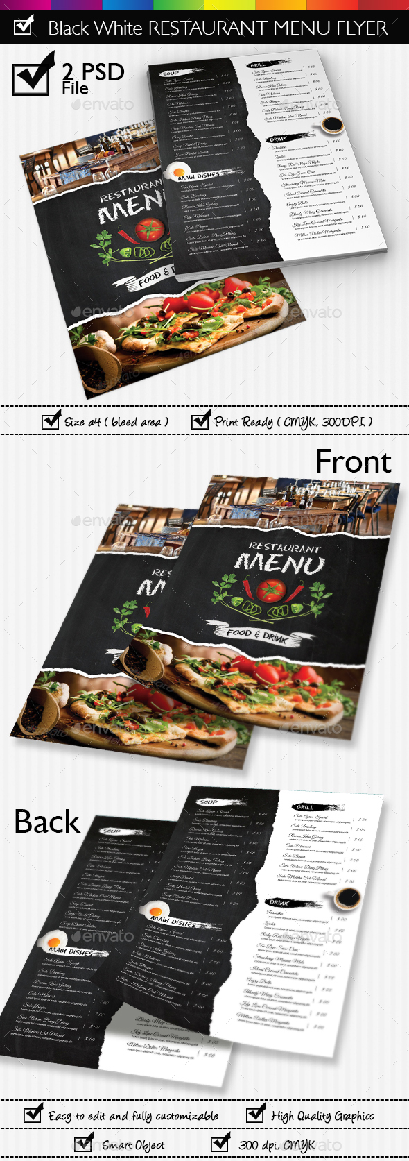 Black White Restaurant Menu Flyer Templates - Restaurant Flyers