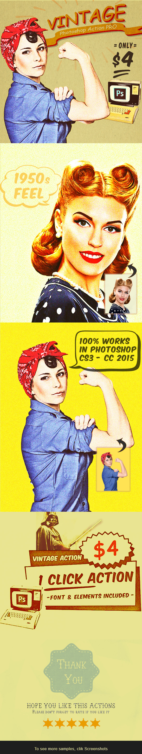 Vintage Photoshop Action PRO Effects - Photo Effects Actions