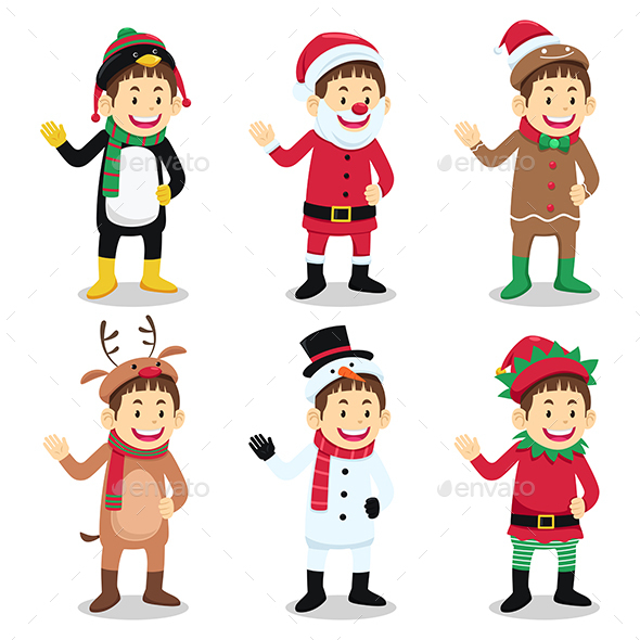 Boy Wearing Christmas Costume - Christmas Seasons/Holidays
