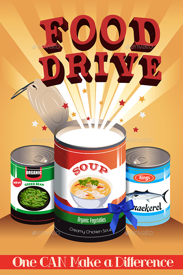 Food Drive Poster - Objects Vectors
