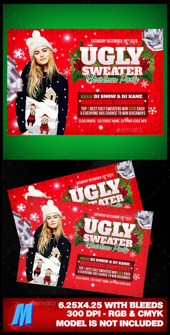 Ugly Sweater Christmas Party Flyer - Clubs & Parties Events